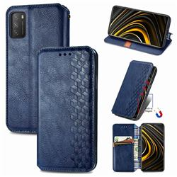 Ultra Slim Fashion Business Card Magnetic Automatic Suction Leather Flip Cover for Mi Xiaomi Poco M3 - Dark Blue