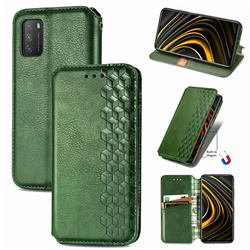 Ultra Slim Fashion Business Card Magnetic Automatic Suction Leather Flip Cover for Mi Xiaomi Poco M3 - Green