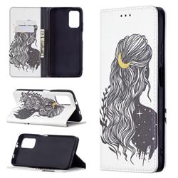 Girl with Long Hair Slim Magnetic Attraction Wallet Flip Cover for Mi Xiaomi Poco M3