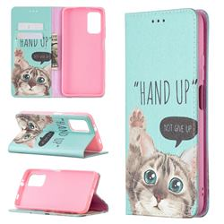 Hand Up Cat Slim Magnetic Attraction Wallet Flip Cover for Mi Xiaomi Poco M3