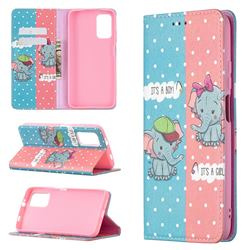 Elephant Boy and Girl Slim Magnetic Attraction Wallet Flip Cover for Mi Xiaomi Poco M3