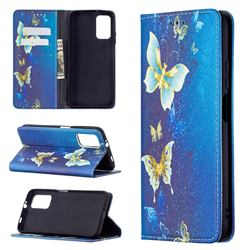 Gold Butterfly Slim Magnetic Attraction Wallet Flip Cover for Mi Xiaomi Poco M3