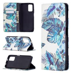 Blue Leaf Slim Magnetic Attraction Wallet Flip Cover for Mi Xiaomi Poco M3
