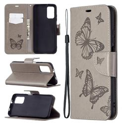 Embossing Double Butterfly Leather Wallet Case for Mi Xiaomi Poco M3 - Gray