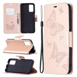 Embossing Double Butterfly Leather Wallet Case for Mi Xiaomi Poco M3 - Rose Gold