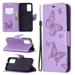 Embossing Double Butterfly Leather Wallet Case for Mi Xiaomi Poco M3 - Purple