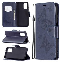 Embossing Double Butterfly Leather Wallet Case for Mi Xiaomi Poco M3 - Dark Blue