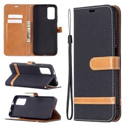 Jeans Cowboy Denim Leather Wallet Case for Mi Xiaomi Poco M3 - Black