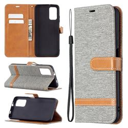 Jeans Cowboy Denim Leather Wallet Case for Mi Xiaomi Poco M3 - Gray