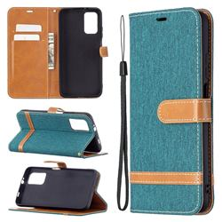 Jeans Cowboy Denim Leather Wallet Case for Mi Xiaomi Poco M3 - Green