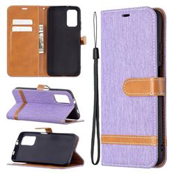 Jeans Cowboy Denim Leather Wallet Case for Mi Xiaomi Poco M3 - Purple
