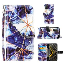Starry Blue Stitching Color Marble Leather Wallet Case for Mi Xiaomi Poco M3