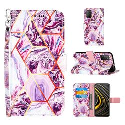 Dream Purple Stitching Color Marble Leather Wallet Case for Mi Xiaomi Poco M3
