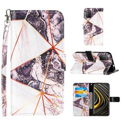 Black and White Stitching Color Marble Leather Wallet Case for Mi Xiaomi Poco M3