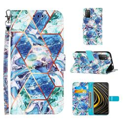 Green and Blue Stitching Color Marble Leather Wallet Case for Mi Xiaomi Poco M3