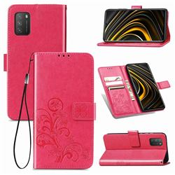 Embossing Imprint Four-Leaf Clover Leather Wallet Case for Mi Xiaomi Poco M3 - Rose Red