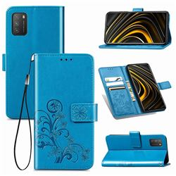 Embossing Imprint Four-Leaf Clover Leather Wallet Case for Mi Xiaomi Poco M3 - Blue