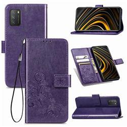 Embossing Imprint Four-Leaf Clover Leather Wallet Case for Mi Xiaomi Poco M3 - Purple