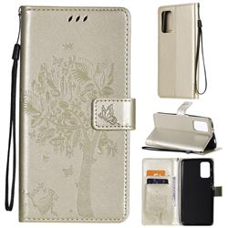 Embossing Butterfly Tree Leather Wallet Case for Mi Xiaomi Poco M3 - Champagne