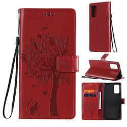 Embossing Butterfly Tree Leather Wallet Case for Mi Xiaomi Poco M3 - Red