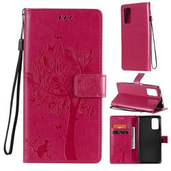 Embossing Butterfly Tree Leather Wallet Case for Mi Xiaomi Poco M3 - Rose