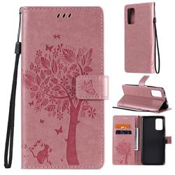 Embossing Butterfly Tree Leather Wallet Case for Mi Xiaomi Poco M3 - Pink