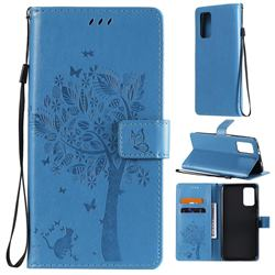 Embossing Butterfly Tree Leather Wallet Case for Mi Xiaomi Poco M3 - Blue