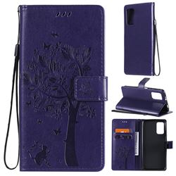 Embossing Butterfly Tree Leather Wallet Case for Mi Xiaomi Poco M3 - Purple