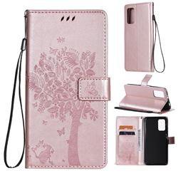 Embossing Butterfly Tree Leather Wallet Case for Mi Xiaomi Poco M3 - Rose Pink