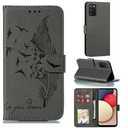 Intricate Embossing Lychee Feather Bird Leather Wallet Case for Mi Xiaomi Poco M3 - Gray