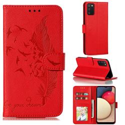 Intricate Embossing Lychee Feather Bird Leather Wallet Case for Mi Xiaomi Poco M3 - Red