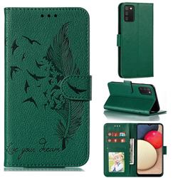 Intricate Embossing Lychee Feather Bird Leather Wallet Case for Mi Xiaomi Poco M3 - Green