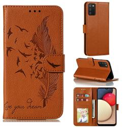 Intricate Embossing Lychee Feather Bird Leather Wallet Case for Mi Xiaomi Poco M3 - Brown