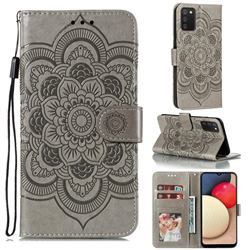 Intricate Embossing Datura Solar Leather Wallet Case for Mi Xiaomi Poco M3 - Gray