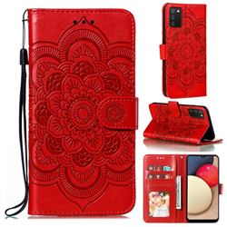 Intricate Embossing Datura Solar Leather Wallet Case for Mi Xiaomi Poco M3 - Red