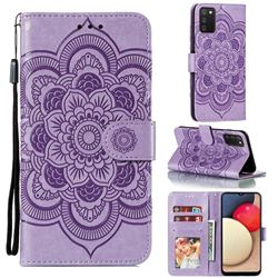 Intricate Embossing Datura Solar Leather Wallet Case for Mi Xiaomi Poco M3 - Purple