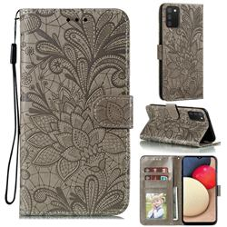 Intricate Embossing Lace Jasmine Flower Leather Wallet Case for Mi Xiaomi Poco M3 - Gray