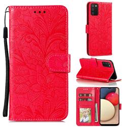 Intricate Embossing Lace Jasmine Flower Leather Wallet Case for Mi Xiaomi Poco M3 - Red