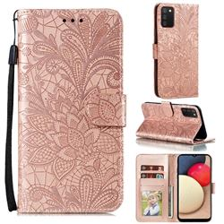 Intricate Embossing Lace Jasmine Flower Leather Wallet Case for Mi Xiaomi Poco M3 - Rose Gold
