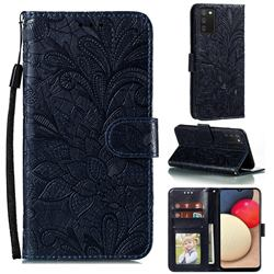 Intricate Embossing Lace Jasmine Flower Leather Wallet Case for Mi Xiaomi Poco M3 - Dark Blue