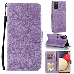 Intricate Embossing Lace Jasmine Flower Leather Wallet Case for Mi Xiaomi Poco M3 - Purple