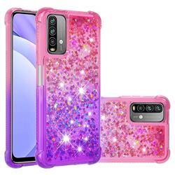 Rainbow Gradient Liquid Glitter Quicksand Sequins Phone Case for Mi Xiaomi Poco M3 - Pink Purple