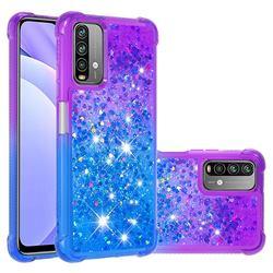 Rainbow Gradient Liquid Glitter Quicksand Sequins Phone Case for Mi Xiaomi Poco M3 - Purple Blue