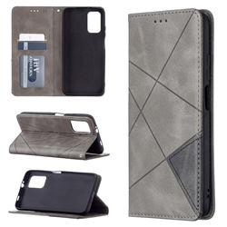 Prismatic Slim Magnetic Sucking Stitching Wallet Flip Cover for Mi Xiaomi Poco M3 - Gray