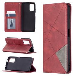 Prismatic Slim Magnetic Sucking Stitching Wallet Flip Cover for Mi Xiaomi Poco M3 - Red