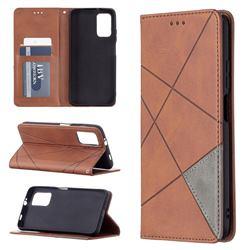 Prismatic Slim Magnetic Sucking Stitching Wallet Flip Cover for Mi Xiaomi Poco M3 - Brown