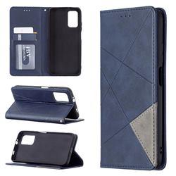 Prismatic Slim Magnetic Sucking Stitching Wallet Flip Cover for Mi Xiaomi Poco M3 - Blue