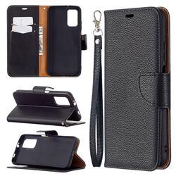 Classic Luxury Litchi Leather Phone Wallet Case for Mi Xiaomi Poco M3 - Black