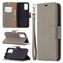Classic Luxury Litchi Leather Phone Wallet Case for Mi Xiaomi Poco M3 - Gray