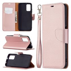 Classic Luxury Litchi Leather Phone Wallet Case for Mi Xiaomi Poco M3 - Golden